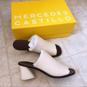 Mercedes Castillo beige mid-heel mules